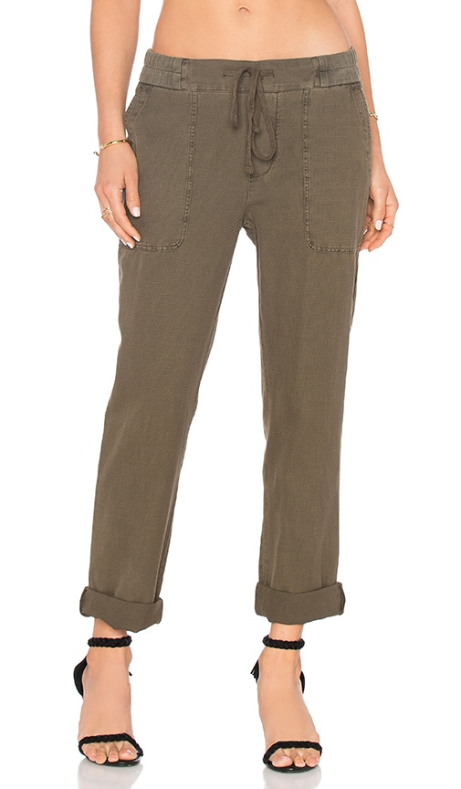 James Perse Slim Cotton Linen Trouser in Green