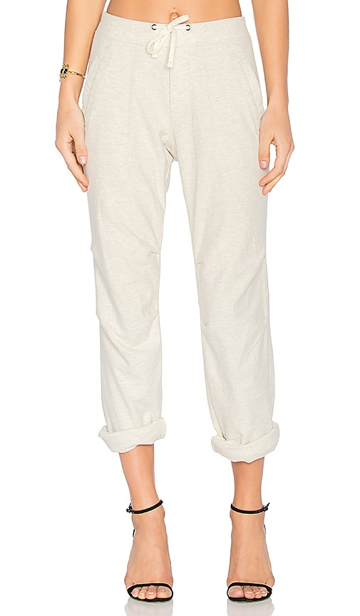 James Perse Heathered Knit Twill Pant in Ivory