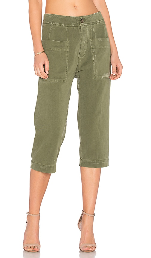 James Perse Cropped Work Pant in Green