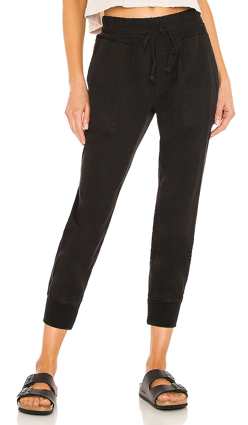 James Perse Contrast Sweatpant in Black