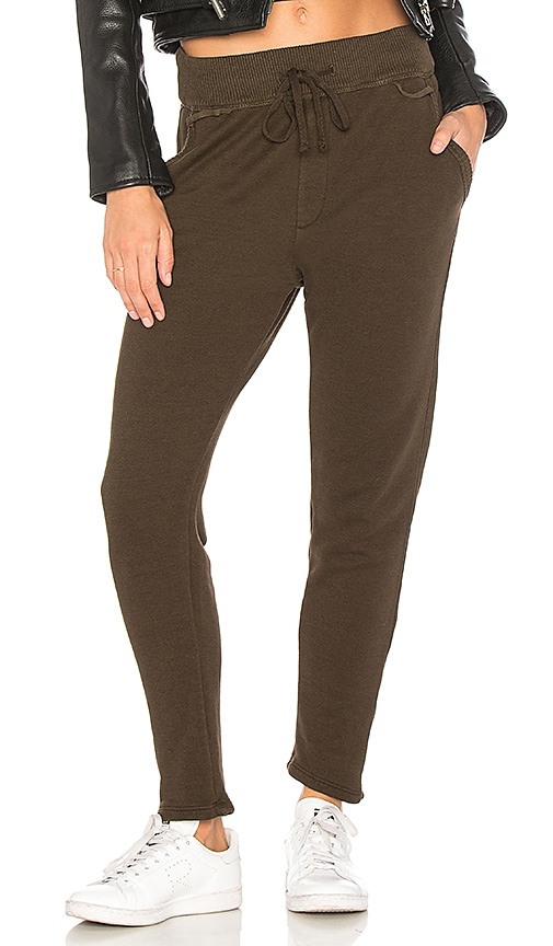 James Perse Rib Waist Sweatpant in Green