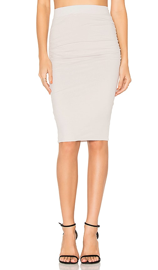 James Perse Shirring Pencil Skirt in Light Gray