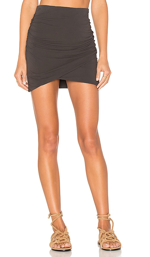James Perse Wrap Skinny Skirt in Charcoal
