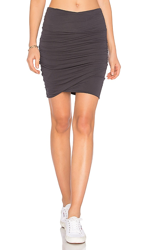 James Perse High Waist Wrap Skirt in Gray