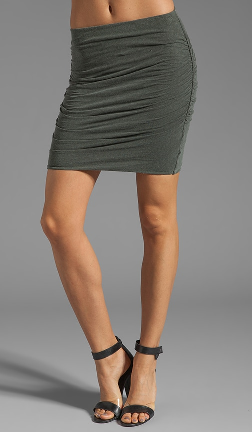 Linen Blend Ruched Mini Skirt