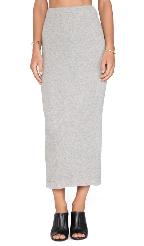 c559c214191852 James Perse Long Cashmere Rib Skirt in Heather Grey | REVOLVE