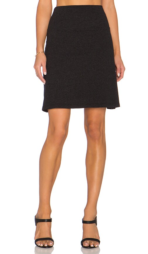 James Perse A-Line Brushed Jersey Skirt in Black