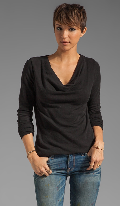 Lightweight Terry Cowl Neck Top