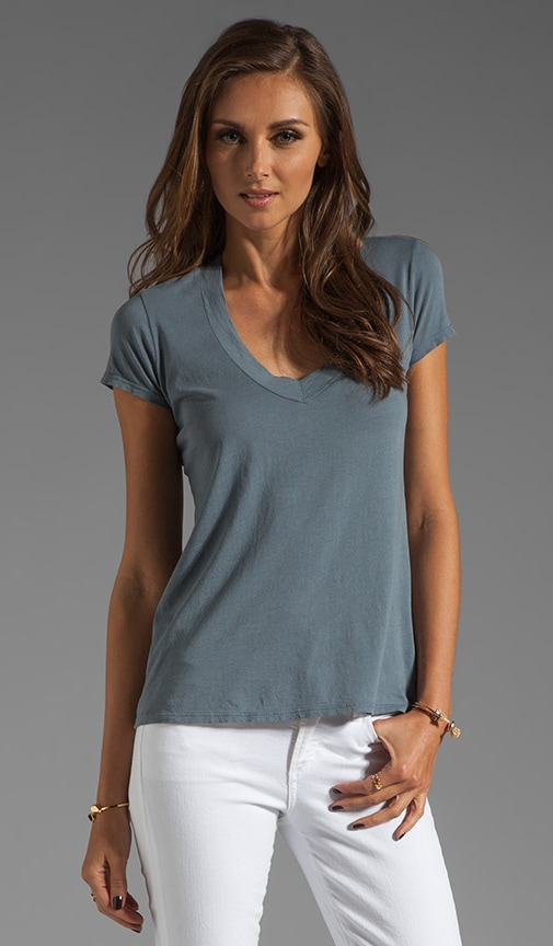 Short Sleeve Relaxed V Neck