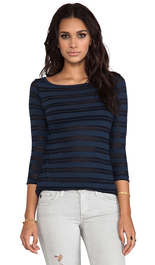 Jewel Neck Stripe Top