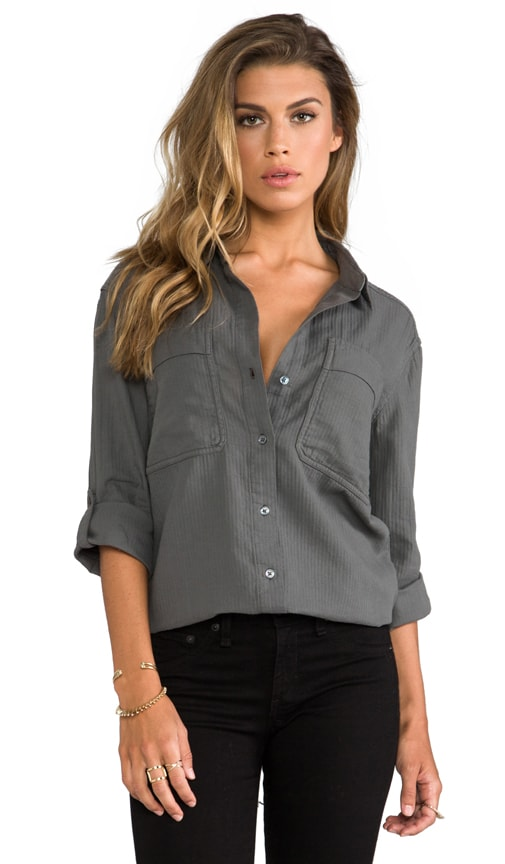 Crinkle Herringbone Surplus Button Down