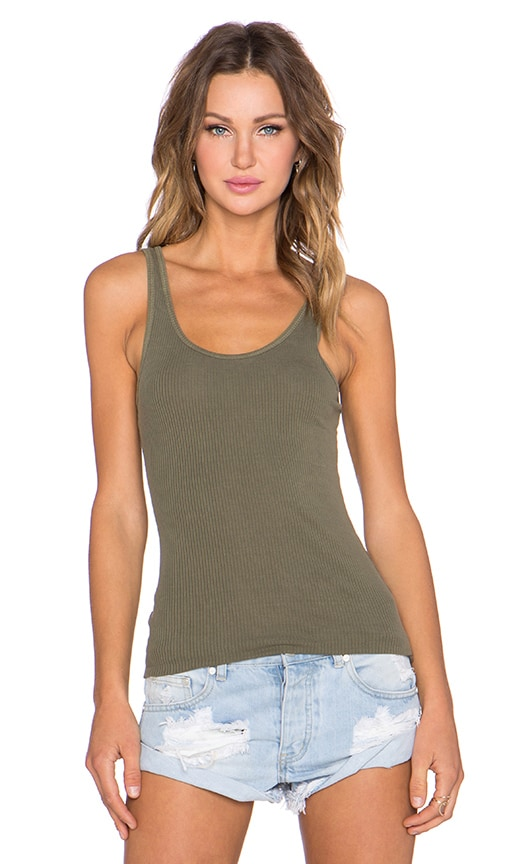 James Perse The Daily Racer Tank in Green