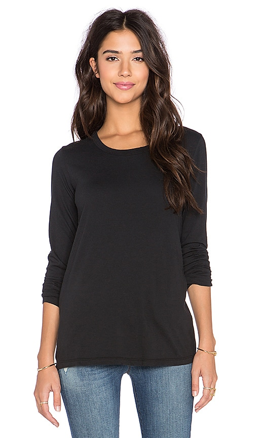 James Perse Pleated Back Long Sleeve Top in Black