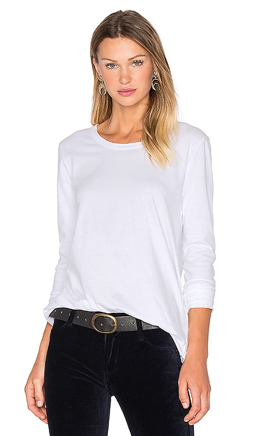 James Perse Pleated Back Long Sleeve Top in White