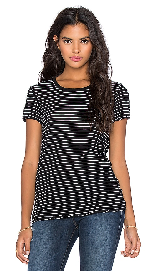 James Perse Classic Stripe Tee in Black & White
