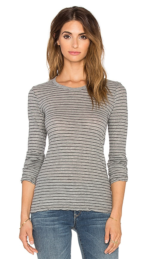 James Perse Bell Sleeve Stripe Tee in Heather Grey & Black