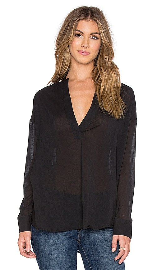 James Perse Chiffon Stretch Pullover Tunic in Black