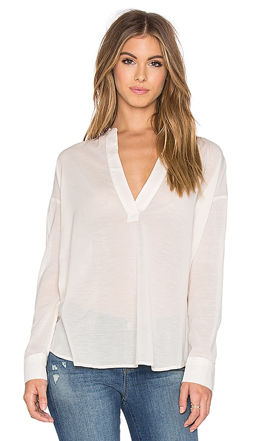James Perse Chiffon Stretch Pullover Tunic in Ivory