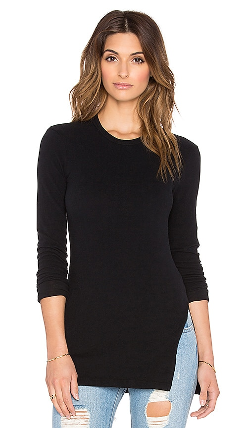 James Perse Side Split Crew Tee in Black