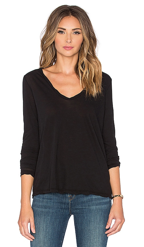 James Perse High Gauge Jersey Long Sleeve Tee in Black