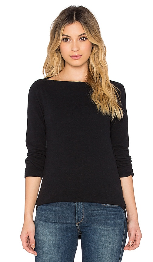 James Perse Jersey Boatneck Tee in True Black