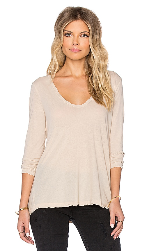 James Perse Heather High Gauge Jersey Long Sleeve Tee in Alpaca