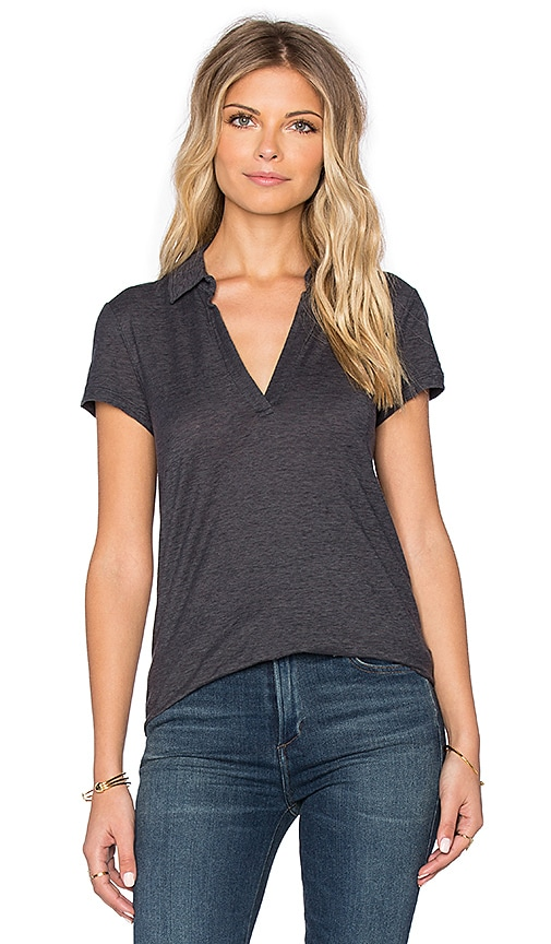 James Perse Cationic Textured Polo Tee in Asphalt