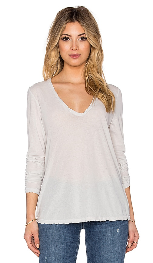James Perse Heather High Gauge Jersey Long Sleeve Tee in Light Gray