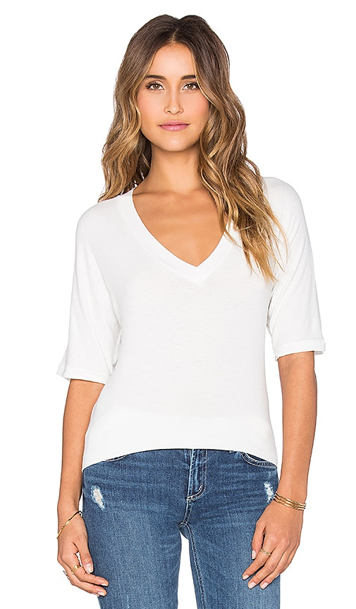 James Perse Dolman V-Neck Top in White