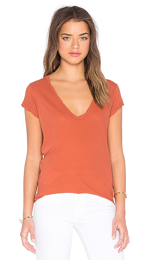 James Perse High Gauge Jersey Deep V Tee in Burnt Orange