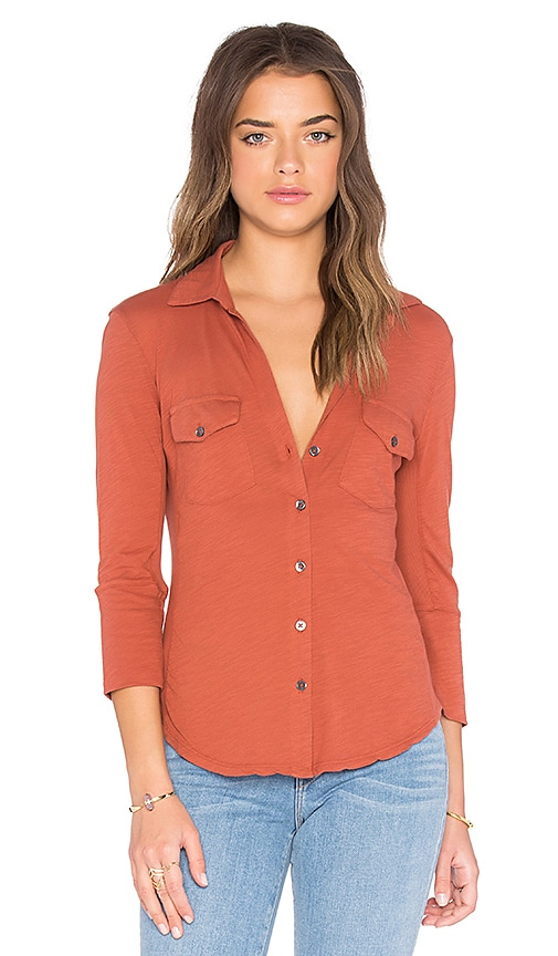 James Perse Contrast Panel Shirt in Redrock