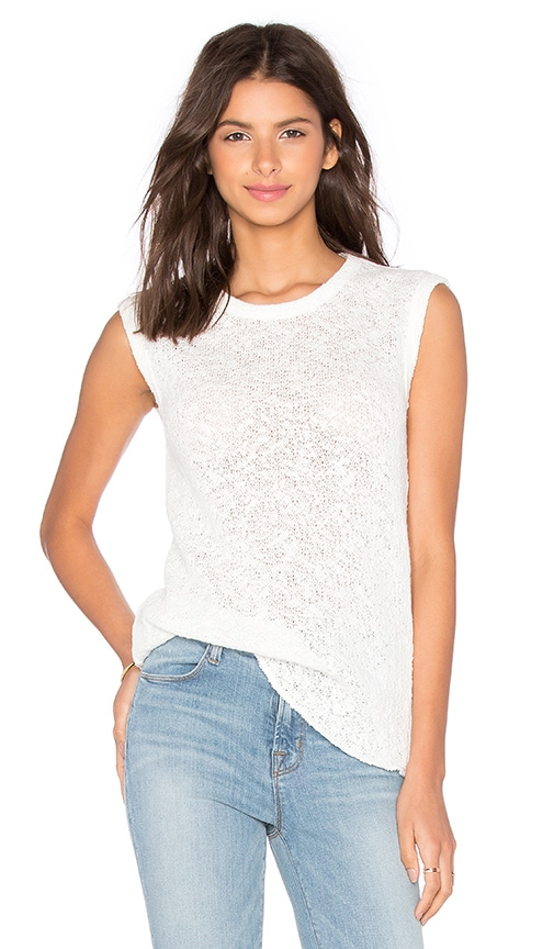 James Perse Web Jersey Muscle Tank in White