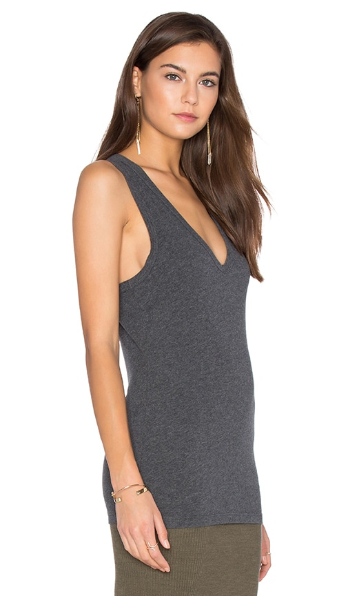James Perse Skinny Jersey Tank in Charcoal