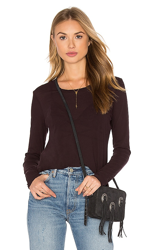 James Perse Long Sleeve Crew Neck Tee in Wine