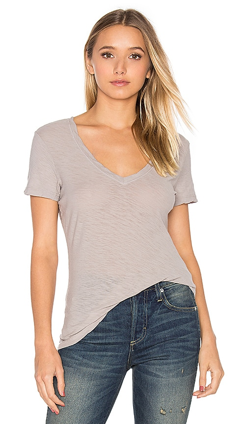 James Perse Casual V Neck Tee in Light Gray