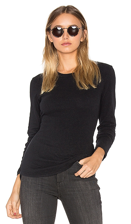 James Perse Brushed Jersey Long Sleeve Tee in Black