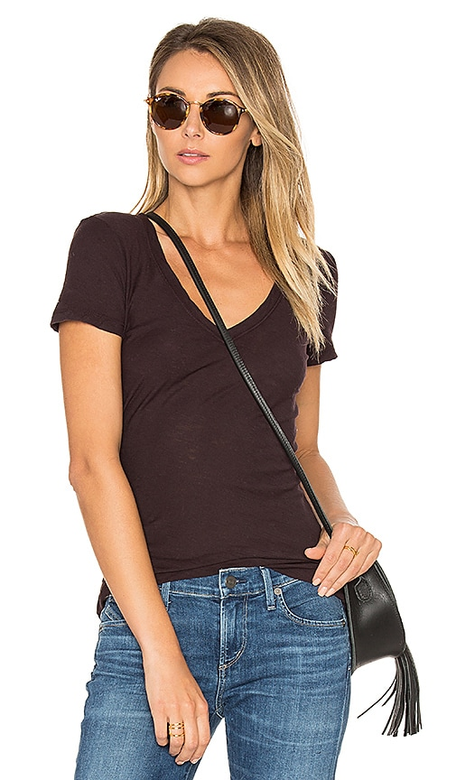 James Perse Casual V Neck Tee in Purple