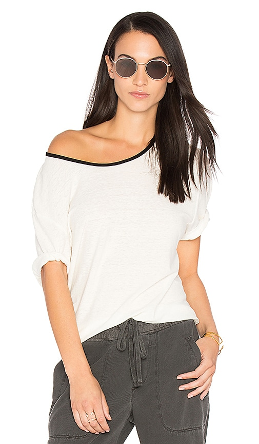 James Perse Relaxed Ringer Tee in White