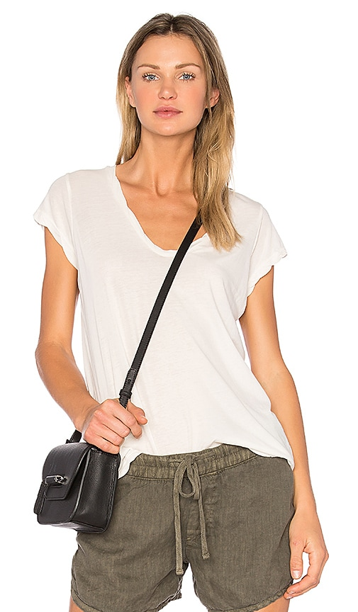 James Perse Deep V Tee in Ivory