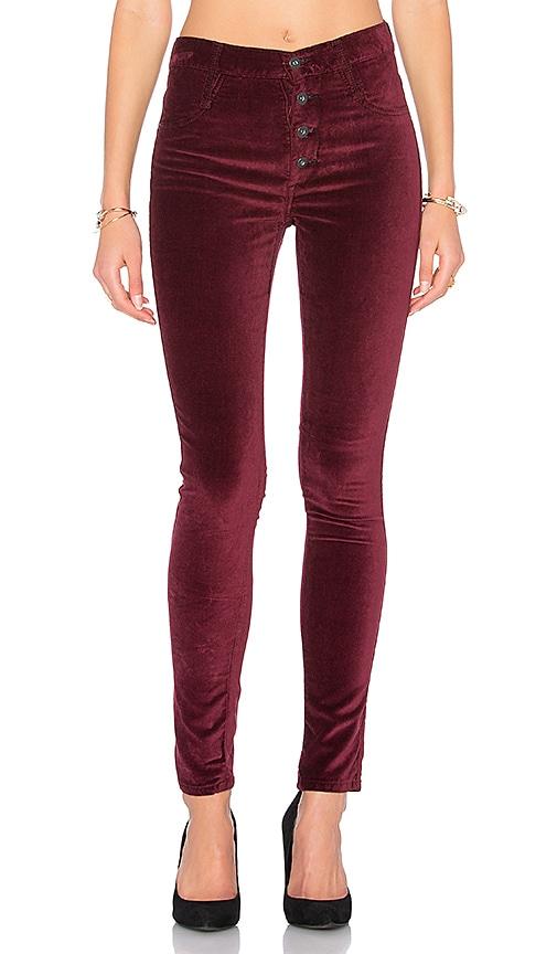 James Jeans High Class Velvet Skinny in Rouge Noir
