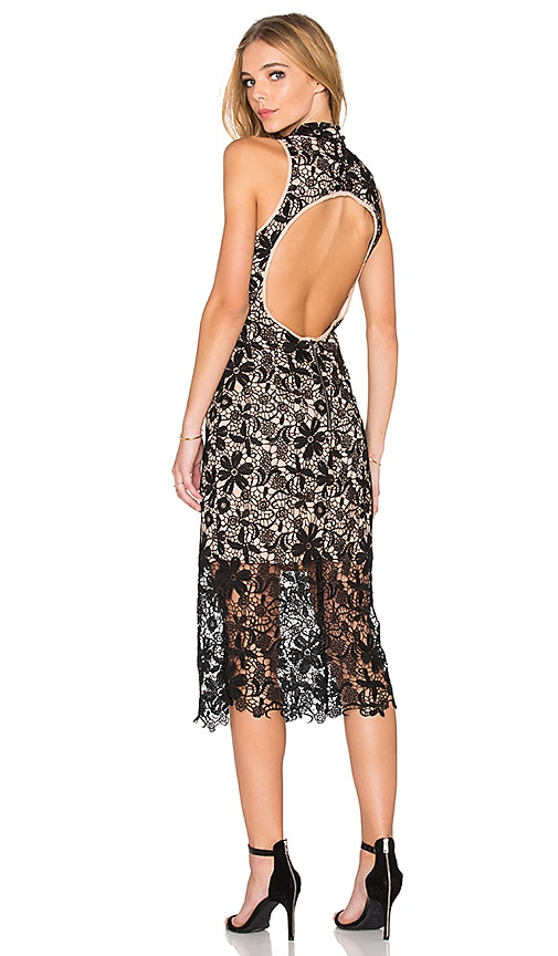 JARLO Juliet Midi Dress in Black Lace