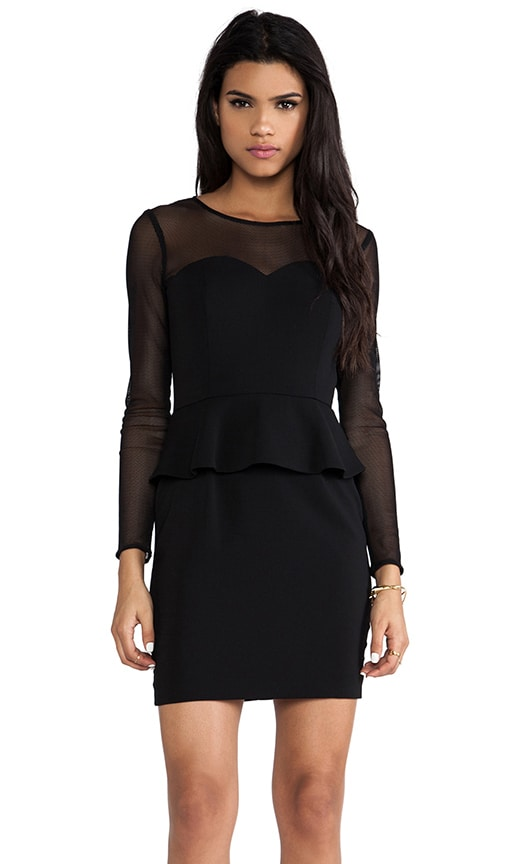 Hyland Peplum Dress with Mesh Long Sleeves