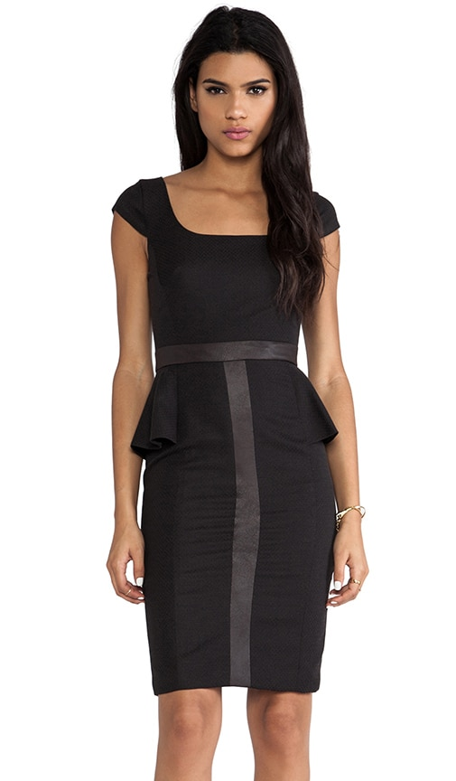 Clement Peplum Dress with Vegan Leather Trim