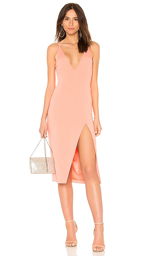 Jay Godfrey Gwendoline Midi Dress in Peach