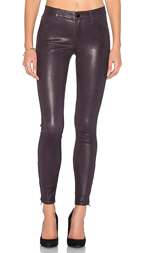 J Brand Mid Rise Leather Skinny in Black