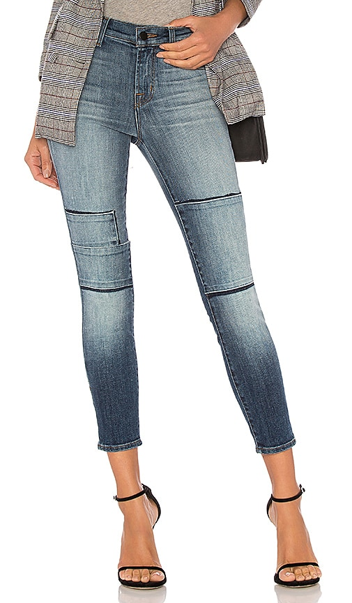 J Brand Alana High Rise Crop Skinny in Jasper Patched