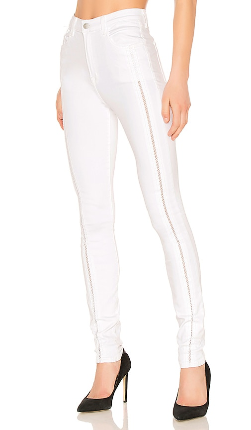 J Brand Carolina Super High Rise Skinny Jean in Blanc Ladder Lace