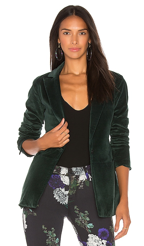 J Brand Denise Velveteen Blazer in Green