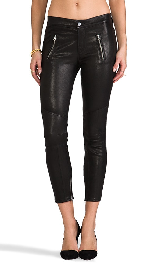 Julia Leather Midrise Biker Crop