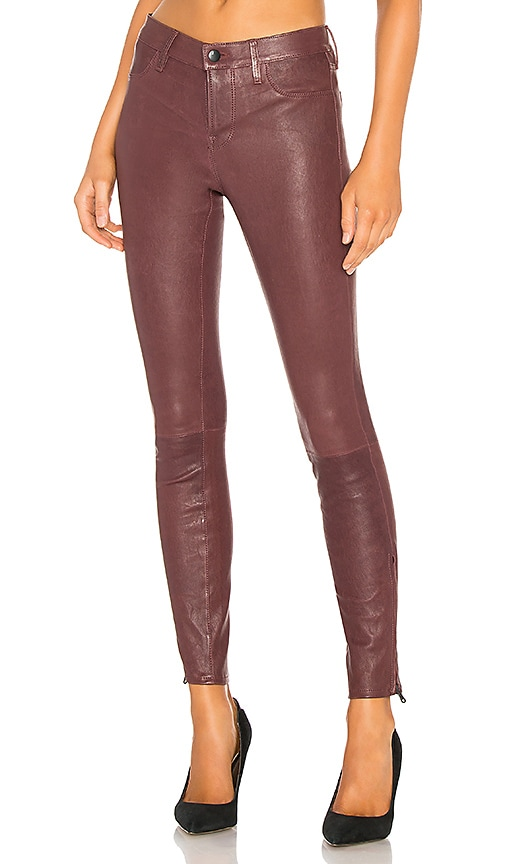 Mid Rise Skinny Leather Pant